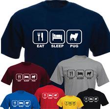 Eat Sleep Pug Dog New Funny T-shirt Present Gift Birthday