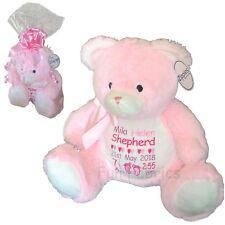 Personalised Teddy Bear New Born Baby Girl Boy Large Zippie Teddie Gift Wrapped