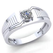 Genuine 0.5ct Round Diamond Men's Classic Solitaire Wedding Band Ring 14K Gold