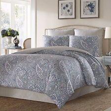 Beautiful Blue Grey Cotton Sateen Paisley Reversible Comforter 4 pcs King Queen