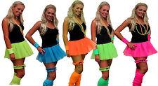 Womens Neon Pleated Tutu 1980s Rave Fancy Dress Dance School Wear Hen Party UK