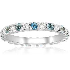 1ct Diamond & Aquamarine Eternity Ring Common Prong 14k White Gold Stackable