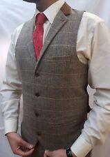 Marc Darcy Tweed Tan Vintage Herringbone Waistcoat Velvet Collared trim