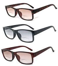 1 or 2 Pairs Retro Square Frame Men Women Tinted Lens Bifocal Reading Sunglasses