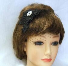 Black fascinatror, wedding headpiece Crystal Pearl Jewel Mini birdcageVeil
