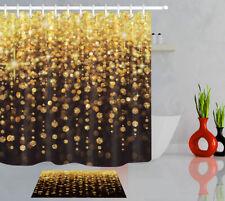 "Beautiful Gold Glitter Light Spots Xmas Shower Curtain Set Waterproof Fabric 72"""
