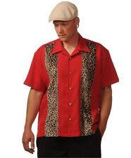 Imprimé Léopard Chemise-Rouge bowling shirt homme Rockabilly Panneau shirt XS-XXXL