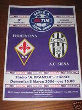 FIORENTINA SIENA PROGRAMMA PROGRAMME SERIE A 2005/06