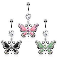 Piercing ombelico Farfalla Ciondolo con Cristalli Acciaio chirurgico Piercing