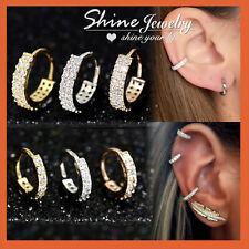 9K GOLD GF EAR NOSE CARTILAGE SEPTUM RING PIERCING SMALL DIAMOND HOOP EARRINGS