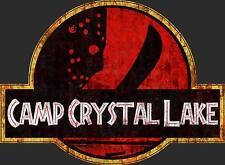 Friday The 13th - Camp Crystal Lake - Jurassic Park Mash Up Horror Movie T-shirt