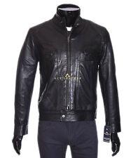 Joueur noir men's smart casual style designer réel veste en cuir souple d'agneau