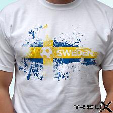 Sweden football flag - white t shirt top design - mens womens kids baby sizes