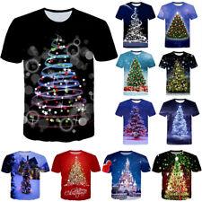 Funny Christmas Tree Print Casual 3D T-Shirt Short Sleeve Women Men Xmas Tee