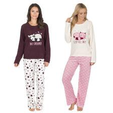 femmes THERMIQUE micro polaire pyjama ensemble Mignon Chat étoile pois haut bas