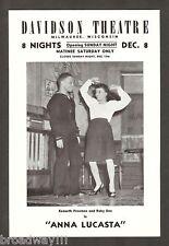 """Ruby Dee """"ANNA LUCASTA"""" Ossie Davis / Warren Coleman 1946 Milwaukee Playbill"""