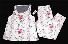 2-Pc Flora Nikrooz Shabby Floral Sleeveless Lace Top Long Pants Pajamas Wms NWT
