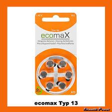 ecomaX HÖRGERÄTEBATTERIEN Typ 13 HÖRGERÄTE BATTERIE PR48 A13