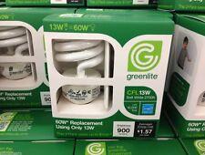 2-10 GREENLITE 13 Watt = 60 Watt Fluorescent LIGHTBULB 10,000 Hour SPIRAL BULBS