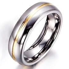 Tungsten Carbide 8MM Gold Grooved Grey Silver Men Wedding Ring Wedding Band M66