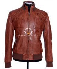 Crucero marrón para hombre Vintage Retro Real Encerado ovejas cuero napa color piel moda chaqueta