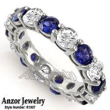 Blue Ceylon Sapphire Eternity Wedding Band. 14k Solid White Gold Diamond and