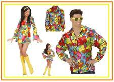 60er / 70er Jahre Flowerpower Partnerkostüm Hippie Hemd Kleid Blumenkleid, (K)