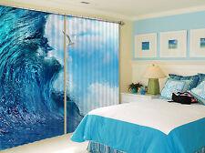 3D Klare Wellen 618 Blockade Foto Vorhang Druckvorhang Vorhänge Stoff Fenster DE
