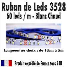 Ruban de Leds 3528 PréCablé - 60 leds / M - Blanc Chaud - de 10cm à 5M