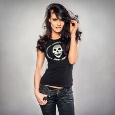 BANKROTT BA1 Streetwear for Ladys T-Shirt Shirt Totenkopf silber auf schwarz