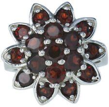 Garnet Gemstone Flower Design Cluster Sterling Silver Ring