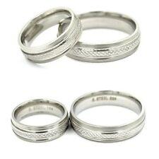 Muster Edelstahl Ring Fingerring Partnerring Silber matt glanz Damen Herren Uni