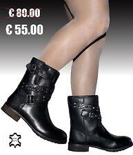 Stivali Stivaletti Biker boots Donna VERA PELLE 36 37 38 39 40