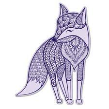 Fox Art Purple Vinyl Sticker - SELECT SIZE