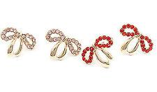 GOLD Tone Bow Orecchini a Perno con rosso / cristallo rosa
