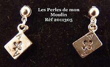 1 Paire Boucles d'Oreille Carte As de Trêfle Argenté / 2011305