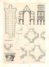 1858 grandi ARCHITETTURA STAMPA ~ Chartres Cattedrale medievale GOTICO ARTE MEDIOEVALE