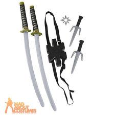 Ninja Double Sword Set Warrior Assassin Weapon Fancy Dress Accessory New