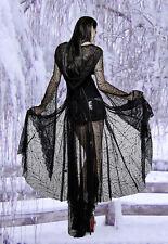 Gothic Steampunk Hexe Cobweb Mantel Kleid Punk Rave Kapuze Vampir 36 38 40 42