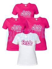 Magliette Addio Nubilato Bride Squad Amiche Sposa Personalizzate Bianche Fucsia
