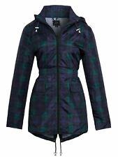 Womens Rain Mac Showerproof Raincoat Jacket Sizes 10 14 12 8 16 Check Blue Coat