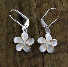 Hawaiian Pair 925 Sterling Silver Plumeria Flowers Lever Back 2 Tone Earrings