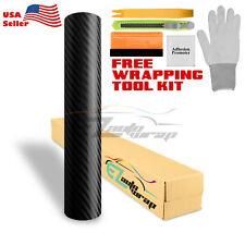 *Premium 4D Black Gloss Carbon Fiber Vinyl Wrap Bubble Free Air Release DIY Film