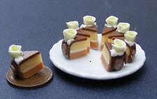 1:12 Scale Whole Sliced Cake (8 Slices) +Ceramic Plate Dolls House Miniature SCG