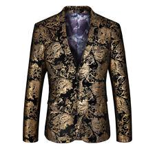 Men's Vintage 3D Print Floral Court Dress Lapel Collar Suit Coat Pants Jacket