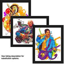 "Choose ANY 3 11x14"" Framed Music Art Print Poster Prince Jimi Hendrix BB King"