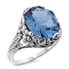 5 Carat Sim Aquamarine Art Nouveau .925 Sterling Silver Ring, #471