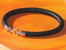 Ladies /mens 5mm Black nappa leather & sterling silver bracelet by Lyme Bay Art.