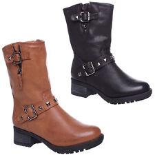 Womens Ladies Flat Low Heel Zip Up Block Heel Grip Stud Ankle Boots Shoes Size
