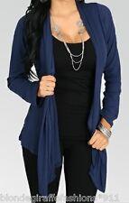 Blue Ribbed Long Sleeve Drape Bolero/Shrug/Cardigan